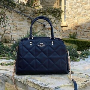 NwT Coach quilted leather handbag purse black